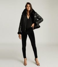 REISS MARGOT REVERSIBLE SHEARLING AVIATOR JACKET BLACK ~ luxe leather winter jackets