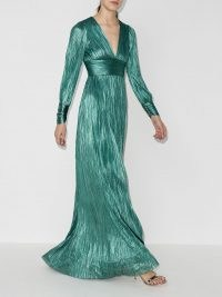 Maria Lucia Hohan Lidia pleated gown / green silk gowns