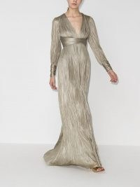 Maria Lucia Hohan Smaranda pleated silk gown ~ metallic plunge front gowns