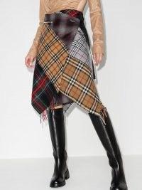 Marine Serre patchwork tartan wrap skirt ~asymmetric plaid skirts