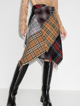 Marine Serre patchwork tartan wrap skirt ~asymmetric plaid skirts - flipped