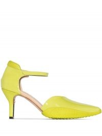 Marine Serre pointed-toe 50mm rubber sole pumps in yellow