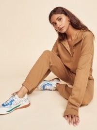 REFORMATION Marla Button Sweatshirt Butterscotch ~ brown sweatshirts