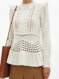 GABRIELA HEARST Martha peplum-hem cable-knitted cashmere sweater   feminine knits   romantic ruffled   sweaters   luxury knitwear
