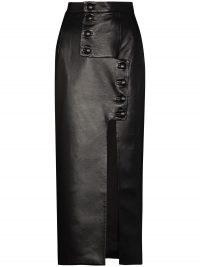 Materiel buttoned high-waist pencil skirt | black faux leather front slit skirts