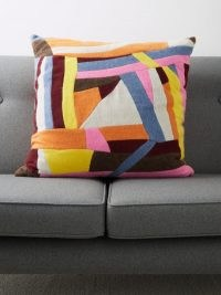 THE ELDER STATESMAN Maze abstract-stripe cashmere cushion cover ~ multicoloured cushion covers ~ soft furnishings for the home