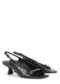 MERCEDES CASTILLO Jessica 50mm black leather slingback sandals ~ open square-toe slingbacks