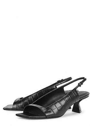 MERCEDES CASTILLO Jessica 50mm black leather slingback sandals ~ open square-toe slingbacks - flipped