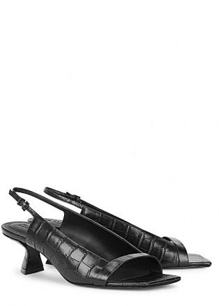 MERCEDES CASTILLO Jessica 50mm black leather slingback sandals ~ open square-toe slingbacks
