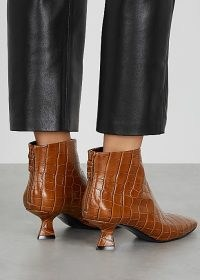MERCEDES CASTILLO Valerie 50 crocodile-effect ankle boots / brown croc embossed pointed toe booties