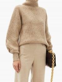 ALTUZARRA Merle roll-neck wool-blend sweater   luxury neutral knits   balloon sleeve high neck sweaters   designer jumpers