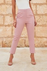 LAVISH ALICE micro button detail tapered trousers in light mauve – ankle grazing pants