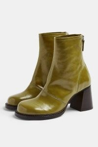 TOPSHOP MILO Green Patent Leather Scoop Toe Boots / shiny chunky heel boots