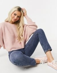 Miss Selfridge boxy sweatshirt in pink ~ casual tops ~ knitted sweatshirts ~ crew neck jumpers