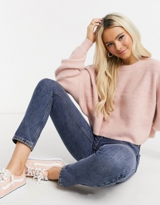 Miss Selfridge boxy sweatshirt in pink ~ casual tops ~ knitted sweatshirts ~ crew neck jumpers - flipped