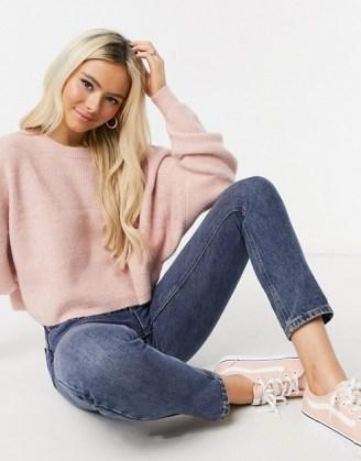 Miss Selfridge boxy sweatshirt in pink ~ casual tops ~ knitted sweatshirts ~ crew neck jumpers