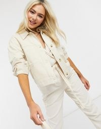 Miss Selfridge cotton shacket with tortoise buttons in cream ~ casual lightweight jackets ~ shackets with style