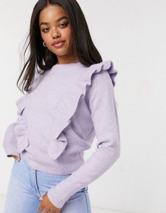 Miss Selfridge frill detail jumper in lilac | ruffled jumpers - flipped
