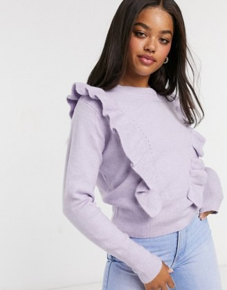 Miss Selfridge frill detail jumper in lilac | ruffled jumpers