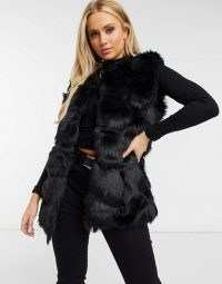Missguided bubble fur gilet in black / faux fur gilets / fluffy sleeveless jackets