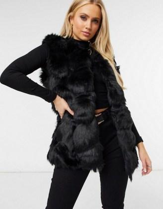 Missguided bubble fur gilet in black / faux fur gilets / fluffy sleeveless jackets - flipped