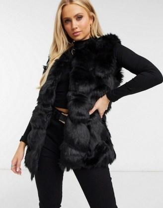 Missguided bubble fur gilet in black / faux fur gilets / fluffy sleeveless jackets