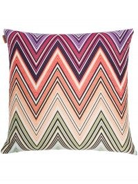 Missoni Home Kew chevron-pattern square cushion 40x40cm ~ multicoloured square cushions ~ soft furnishings for the home
