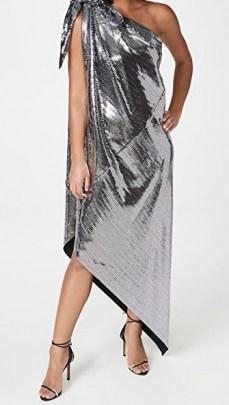 MM6 Maison Margiela Disco Jersey Dress / silver one shoulder dresses - flipped
