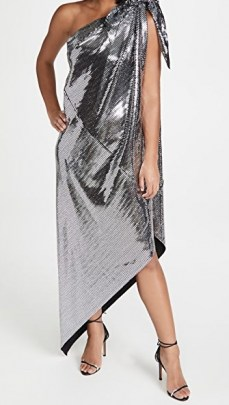 MM6 Maison Margiela Disco Jersey Dress / silver one shoulder dresses