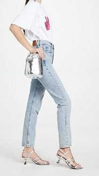 MM6 Maison Margiela Mini Bucket Bag in silver / metallic faux leather bags