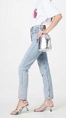 MM6 Maison Margiela Mini Bucket Bag in silver / metallic faux leather bags - flipped