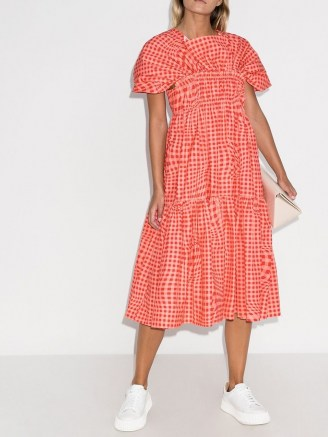 Molly Goddard Bo Brigham gingham-print midi dress / pink checked dresses - flipped