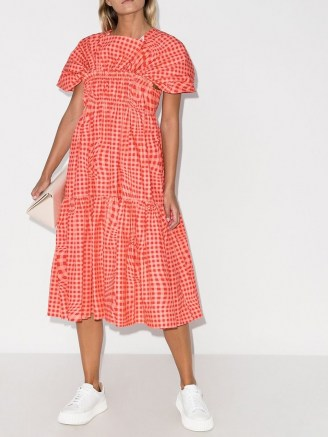 Molly Goddard Bo Brigham gingham-print midi dress / pink checked dresses