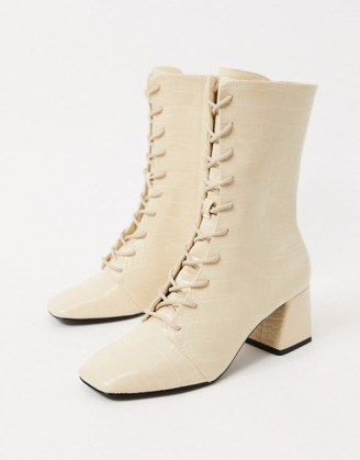 Monki Thelma faux leather lace up heeled boots / square toe croc boots - flipped