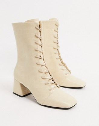 Monki Thelma faux leather lace up heeled boots / square toe croc boots