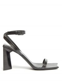 BALENCIAGA Moon square-toe leather sandals ~ black flared heel sandal