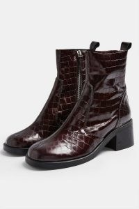 TOPSHOP MOTHER Burgundy Crocodile Round Toe Leather Boots / dark red croc embossed chelsea boots