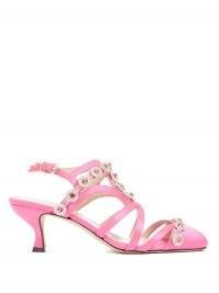 CHRISTOPHER KANE Multi-strap crystal-embellished satin pumps | pink kitten heel shoes | party footwear