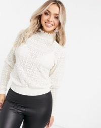 NA-KD puff sleeve jumper in off white   high neck jumpers