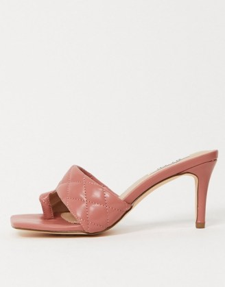 NA-KD quilted square toe mules in pink / toe loop mule / padded slip on heels - flipped