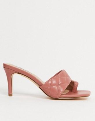 NA-KD quilted square toe mules in pink / toe loop mule / padded slip on heels