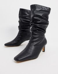 NA-KD ruched square toe boots in black / squared off toes / slouchy