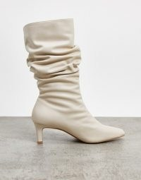 NA-KD ruched square toe boots in cream | 80s style slouch boot