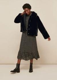WHISTLES SHORT FAUX FUR COAT Black / winter coats