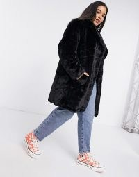 New Look Curve faux fur jacket in black / plus size winter coats