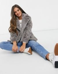 New Look Petite faux fur jacket in grey / fluffy winter jackets