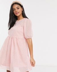 New Look smock dress with slip in pink gingham / dresses with volume / smocked / checked