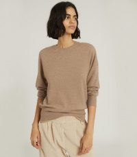 REISS NINA CASHMERE CREW NECK JUMPER OATMEAL ~ casual winter style ~ luxe knitwear ~ neutral tones