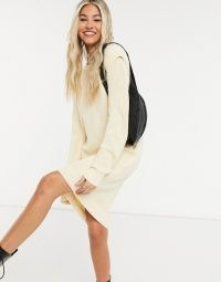 Noisy May knitted dress with sleeve detail in cream   slouchy sweater dresses