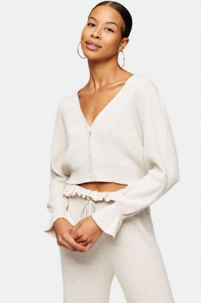 Topshop Oat Paperbag Knitted Cardigan | cropped V neck cardigans